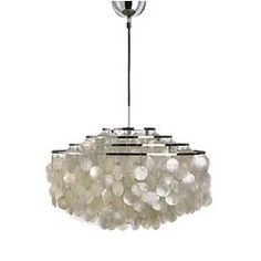 Verpan Fun Mother Of Pearl Wide Pendant Light    £ 995.00 - £ 1225.00    Description  Details  Reviews    Verpan Fun Mother Of Pearl Wide Pendant Light by Verner Panton. Mother-of-pearl discs cascade from a chrome frame with either 4 or 5 tiers. Engraved with Verner Panton's signature.  Dimensions : 4m black fabric cord    Product ID : funwide