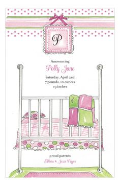 Baby Bed Pink Invitation