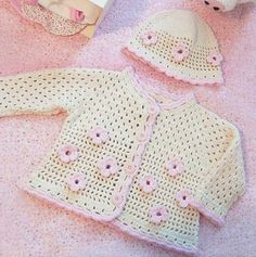 Instagram. PICTURE ONLY for inspiration. Crochet baby sweater & hat.