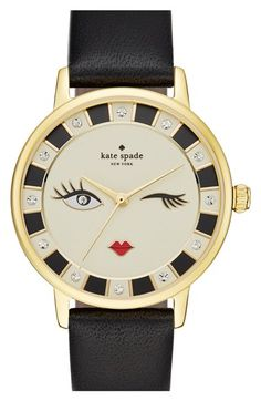 kate spade new york 'metro - kiss' leather strap watch, 34mm