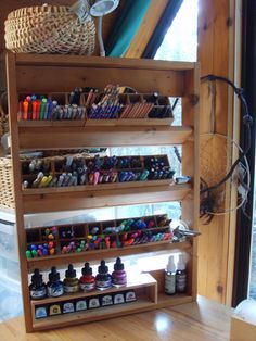 ........ Art ~ Writing ~ Life: Upcycling a small shelf into an art pen rack