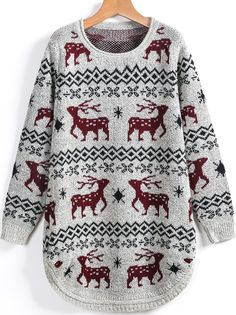 To find out about the Apricot Round Neck Deer Print Loose Sweater at SHEIN, part of our latest Sweaters ready to shop online today! Loose Sweater, Sweater Jacket, Deer Print, First They Came, Jumpers, Christmas Sweaters, Cardigans, Naked, Cute Outfits