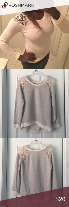 Spotted while shopping on Poshmark: 🎉HP🎉Long Sleeve with Lace Shoulders! #poshmark #fashion #shopping #style #Pink Rose #Tops