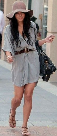 Vanessa Hudgens working the shirtdress Cute Fashion, Boho Fashion, Fashion Outfits, Womens Fashion, Vanessa Hudgens Style, Summer Outfits, Cute Outfits, Romper With Skirt, Stylish Clothes For Women