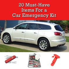 20 MUST HAVE Items to have in your car for an emergency. Winter is approaching so now is a good time to get prepared for the winter roads and holiday traveling! There are many items here that I wouldn't have thought about.