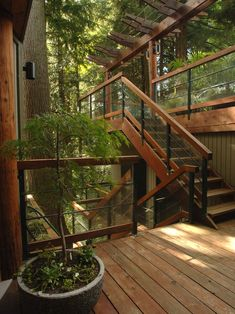 Natural wood deck design that blends nicely with the environment. Love the railing.