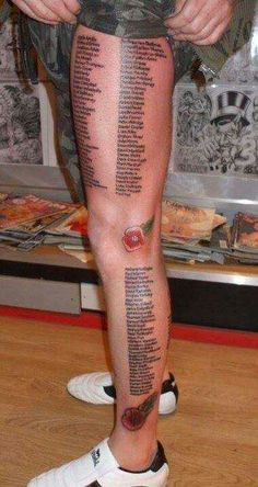 This soldier tattooed the 444 names of his friends whom he lost while fighting in Iraq. Massive respect for all soldiers.