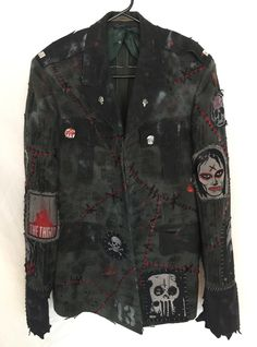 Military distressed rocker jackets from Chad Cherry Clothing. Punk Outfits, Cool Outfits, Mens Military Style Jacket, Zombie Clothes, Dark Fashion, Mens Fashion, Punk Jackets, Battle Jacket, Military Fashion