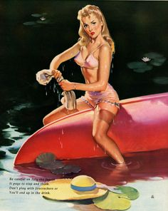 Gil Elvgren - We Had a Falling Out - Pin-up on a Boat