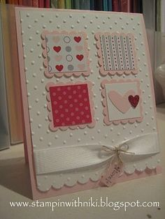 Valentines Day card-- One day I want to make all homemade cards with all the cute scrapbook stuff! Valentine Love Cards, Valentine Crafts, Homemade Valentines, Tarjetas Stampin Up, Stampin Up Cards, Cute Scrapbooks, Embossed Cards, Creative Cards, Anniversary Cards