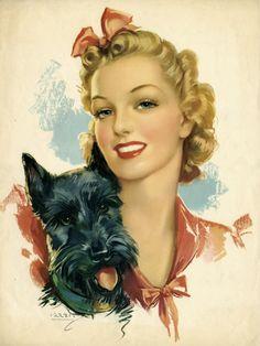 Pink bow and Scotty dog vintage pin up art Jules Erbit Scottish terrier