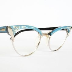 Blue with Rhinestones Vintage Browline Cat Eye Glasses review at Kaboodle