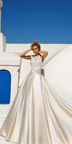 princess style eva lendel wedding dresses 2017 with lace embellished high neck and bodice satin skirt