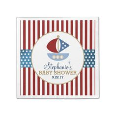 Stars and Stripes Nautical Baby Shower Standard Cocktail Napkin