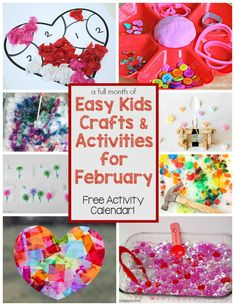 A month of kids activities for February! Math, Science, Sensory, Crafts & More! Perfect for preschool or homeschool! Easy and fun crafts! From Valentine's Day to flowers there is so much fun to be had here! Activities For 6 Year Olds, Valentines Day Activities, Craft Activities For Kids, Valentine Day Crafts, Winter Activities, Toddler Activities, Preschool Activities, Valentine Mailboxes, Valentine Ideas