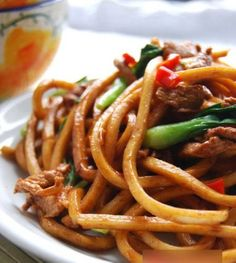 Spicy sesame fried noodles.  I LOVE noodles, anykind of noodles!!