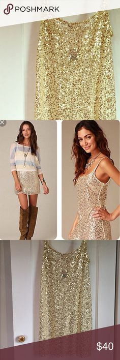 Free People gold sequin slip & strapless underlay. Gold and navy sequin mini dresses from Free People's intimately free line. FP nude and black strapless under slips are also available. Great for Halloween, mixers, going out, or other fun occasions and events. Purchase individually ($30/ea.), as pairs for $45, or get all 4 items for $60! None of these items have been worn. Free People Dresses Mini