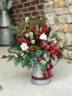 farmhouse Christmas centerpiece with buffalo plaid. Red & black buffalo check, galvanized watering can entry table arrangement, dining room - Modern Dining Room Table Centerpieces, Christmas Table Centerpieces, Christmas Lanterns, Christmas Arrangements, Lantern Centerpieces, Rustic Christmas Decorations, Christmas Tables, Woodland Christmas, Plaid Christmas