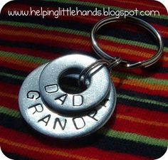 DIY great cheap way using washer pieces to stamp to make keychains, earrings, pendants, etc.