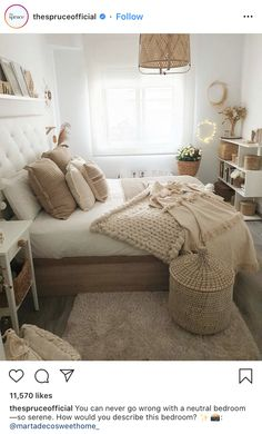 Baskets left, right and center 🤎yep that's our dream, we're simple people! 🧸 This stunning bedroom belongs to ✨✨✨✨✨✨✨ Room Design Bedroom, Room Ideas Bedroom, Bedroom Styles, Home Decor Bedroom, Modern Bedroom, Cozy Room, Aesthetic Bedroom, My New Room, Room Inspiration