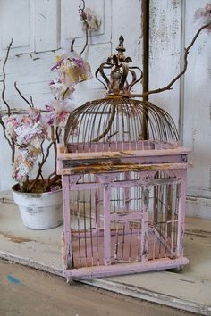 Soft pink bird cage romantic muted with crown distressed rusted shabby chic home decor Anita Spero.