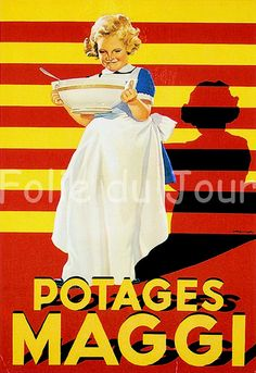 Maggi Soup French Advertisement Poster -