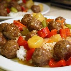 Lanas Sweet and Sour Meatballs Double the sauce recipe. Increase the oven time for the meatballs to 20 mins. Add the pineapple chunks during the last 5 mins of simmering. Sweet N Sour Meatball Recipe, Sweet And Sour Meatballs, Meatball Recipes, Meat Recipes, Asian Recipes, Dinner Recipes, Cooking Recipes, Ethnic Recipes, Meatball Appetizers