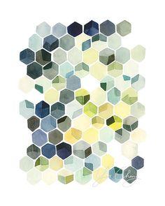 Aquarell-Kunstdruck von YaoChengDesign auf Etsy Farben mit anderen Formen wieder aufgreifen, multiple Buyer! Inkjet kopien auf hochwertigem Material