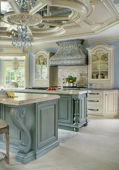"Peter Salerno, Inc. Portfolio A Touch of Elegance 2nd Place Winner - Large Kitchen by the NKBA 2015 A traditional kitchen with some ""glitz & glam"" featuring one of our custom reclaimed tin hoods, refrigerator panels, antiqued mirror ceiling, a La Cornue http://amzn.to/2pWyPdv"
