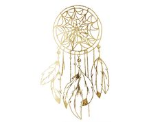 Gold Dream Catcher Temporary Jewelry Tattoo by LetsGoGold on Etsy, $12.95