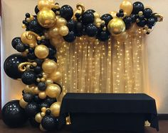 Black And Gold Party Decorations, 50th Birthday Party Decorations, Gold Birthday Party, Anniversary Decorations, Graduation Party Decor, Diy Party Decorations, 50th Birthday Balloons, Black And Gold Balloons, Black And Gold Theme