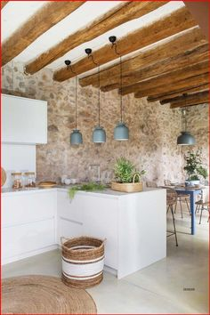 Contemporary Interior Design, Interior Design Kitchen, Rustic Kitchen, Kitchen Decor, Stone Houses, Home Kitchens, Sweet Home, House Styles, Home Decor