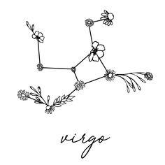 Virgo Floral Zodiac Constellation Pillow Sham by aterkaderk Floral Back Tattoos, Birth Flower Tattoos, Bull Tattoos, Tatoos, Aster Tattoo, September Birth Flower, Virgo Tattoo Designs, Witch Tattoo, Zodiac Sign Tattoos