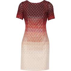 Missoni Embellished metallic crochet-knit mini dress ($745) ❤ liked on Polyvore featuring dresses, burgundy, embellished dresses, mini dress, red knit dress, red beaded dress and burgundy dress