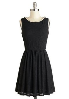 String of Twirls Dress, #ModCloth  The string of pearls at the top makes me think of Audrey Hepburn.. Loving it #LBD