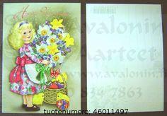 Tyttö ja kukat, Hyvää Pääsiäistä