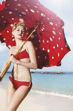 Red bikini with polka dot umbrella Red Umbrella, Under My Umbrella, Beach Umbrella, Estilo Pin Up, Umbrellas Parasols, Retro Stil, The Bikini, Floral Bikini, Bathing Beauties