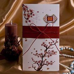 "Elegant Cherry Blossom Wedding Invitation With String--**EXPLORE an Amazing Collection of ""Theme Matching Wedding Invitation Sets"" by Visiting... http://www.zazzle.com/weddinginvitationkit"