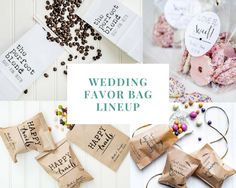 A lineup of some of Give It Pretty's wedding favor bags.