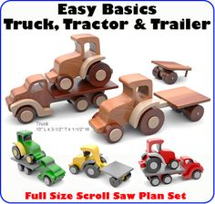 Easy Basics Truck, Tractor & Trailer Wood Toy Scroll Saw Plan Set