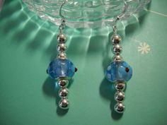 Blue Flower Dangle Earrings by Beads4You2008 on Etsy, $9.00