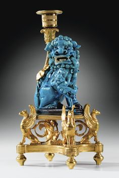 Flambeau turquoise blue Chinese porcelain Kangxi period (1662-1722) Candleholder with gilt bronze mounts circa 1785 attributed to Francois Remond
