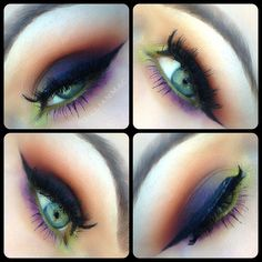 1. Start with Orange and blend it in to the crease with a fluffy brush. 2. With the same brush, blend Fig. 1 in to the lower crease and outer corner 3. Pack sketch on the lid with a flat brush 4. Pack Rated R on to the inner corner 5. With a pencil brush blend Sushi Flower into the lower lash line 6. With an angle brush line lower lashline with Fig 1. 7. Wet angle brush and line water line with Rated R 8. Line upper lashline with liquid liner, mascara and lashes! Products by MAC. IG…