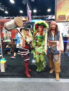 San Diego Comic-Con 2014 - Harley Quinn, Poison Ivy, and Jack Sparrow Pirate Cosplay