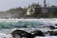 Black Rock Oceanfront Resort in Ucluelet, British Columbia. This luxurious getaway built of rock, glass, steel and wood is nestled on Vancouver Island's rugged west coast.  For its spacious rooms (one of which boasts one of the largest ballrooms on the island's west coast) and scenic location. Consider having your ceremony and toast in the Wine Cellar or Fetch restaurant patio; you'll be blown away by the house-made cocktails and dramatic views of the ocean and rainforest.