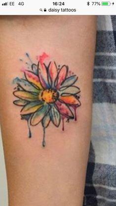 Daisy Flower Tattoos, Leaf Tattoos, Watercolor Tattoo, Ink, Flowers, India Ink, Royal Icing Flowers, Flower, Temp Tattoo