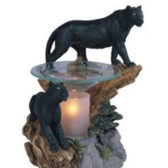 Black Panther oil burner Electric Oil Burner, Oil Warmer, Oil Burners, Fantasy Dragon, Black Panther, Vintage Antiques, Fountain, Lion Sculpture, Statue