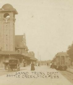 SW Battle Creek MI RPPC Circa 1910 Railroad DEPOT GTW Grand Trunk Western RR!!!