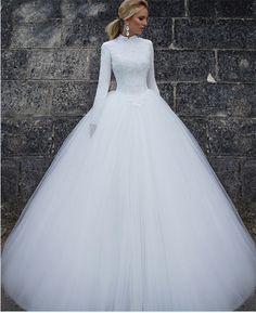 Awesome Amazing White Ivory Long Sleeve Bridal Gowns Muslim Dubai Arabia High neck Wedding Dress  2017-2018