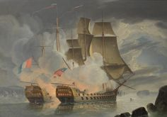 John Christian Schetky (British, 1778-1874) The furious action between H.M.S. Mars and the French '74 Hercule off Brest on 21st April 1798